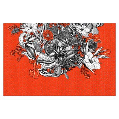 Floral Orange Jigsaw Puzzle