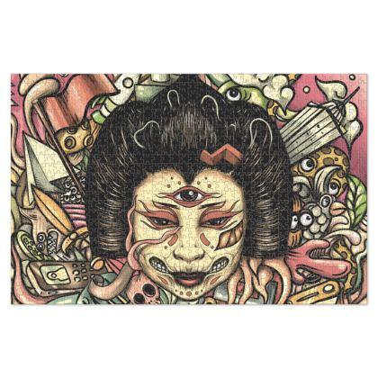 Geisha Doodles Flat Jigsaw Puzzle