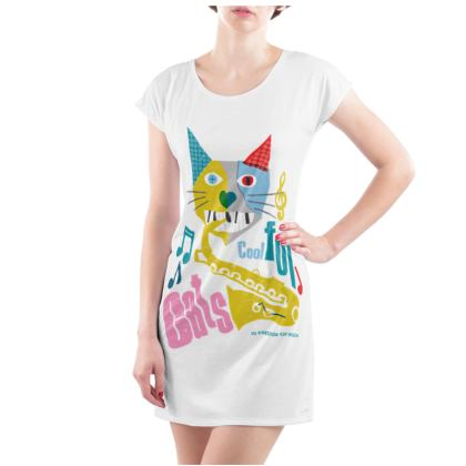 COOL FOR CATS LADIES TUNIC T SHIRT DESIGN 2
