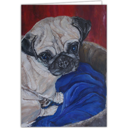 Personalised Pugly the Pug Fine Art Occasions Card by Somerset (UK) Artist Amanda Boorman