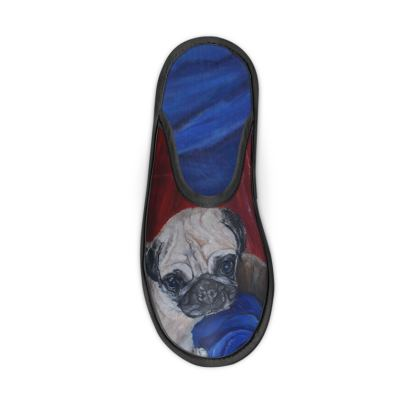 Pugly the Pug Fine Art Print Slippers by Somerset (UK) Artist and Designer Amanda Boorman