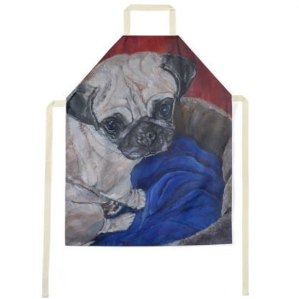 Pugly the Pug Luxury Fine Art Apron by Somerset (UK) Artist Amanda Boorman