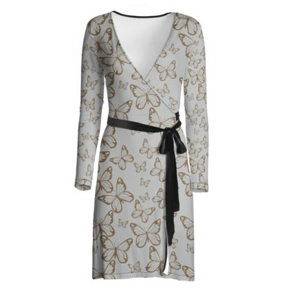 Wisteria Butterfly Collection (Gold) - Luxury Wrap Dress