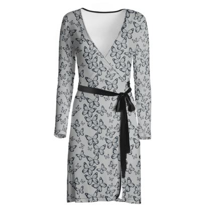 Wisteria Butterfly Collection (Navy) - Luxury Wrap Dress