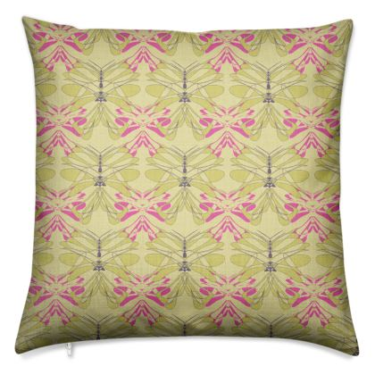 Butterfly Collection (Green Gold & Pink) - Luxury Cushion