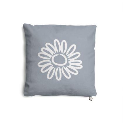 White Daisy on Blue Cushion