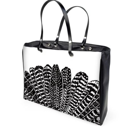 Tribal Feathers - Leather Handbag