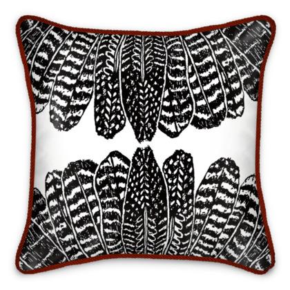Tribal Feathers - Silk Cushion