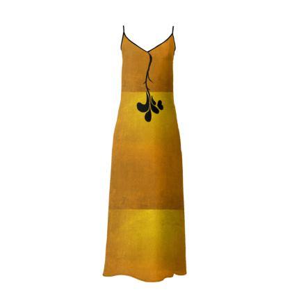 Statement Slip dress | Golden silhouette rose