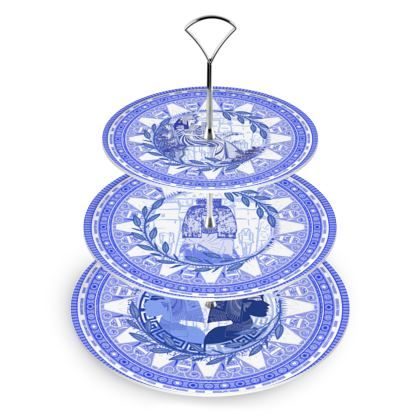 Egyptian White & Blue: 3 TIER CAKE STAND POWERFUL QUEENS