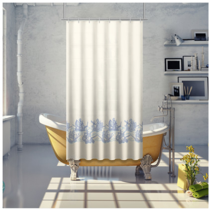 Blue Ships Shower Curtain