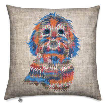 Patchwork design Cockapoo cushion