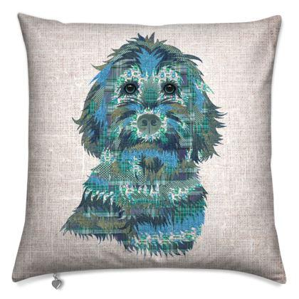 Teal Cockapoo design cushion