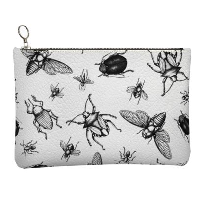 """Leather Small Tote Shopper Bag - Limited Edition Hand Illustrated""""Buzzing Around"""""""