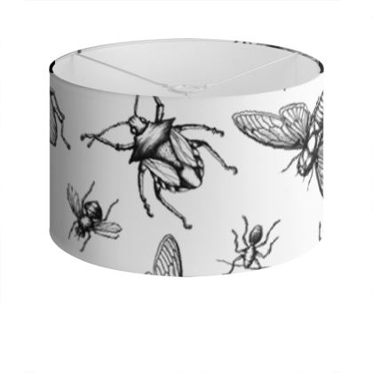 "Large Screen Printed Drum Lampshade - Limited Edition ""Buzzing Around"" Print"