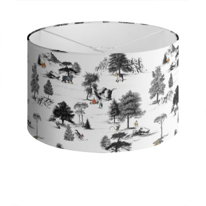 "Large Screen-Printed Drum Lampshade - Limited Edition ""They Wak Amongst Us"" Print"