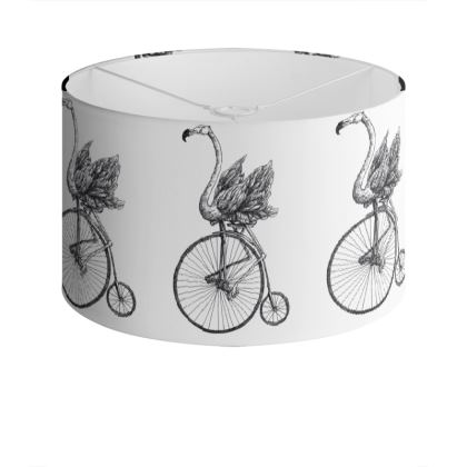 "Large Screen-Printed Drum Lampshade - Limited Edition ""Just Riding Along"" Print"
