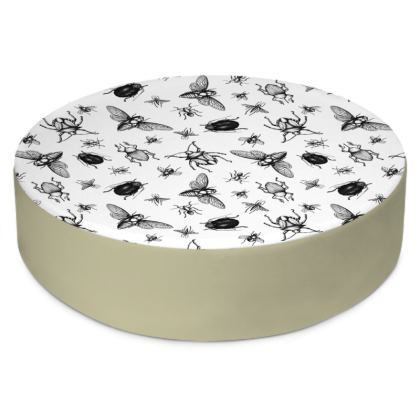"Round Floor Cushion Large - Limited Edition "" Buzzing Around"" Print"