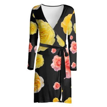 OSHO Wrap Dress - Roses on Black