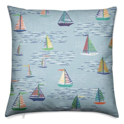 Regatta Collection (Boats - Blue) - Luxury Cushion