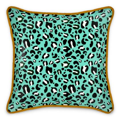 "Premium Silk Hand Illustrated Cushion - Limited Edition ""Leopard Print Love"" Print"