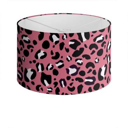"Large Screen Printed Drum Lampshade - Limited Edition Pink ""Leopard Print Love"" Print "" Leopard Print Love"""