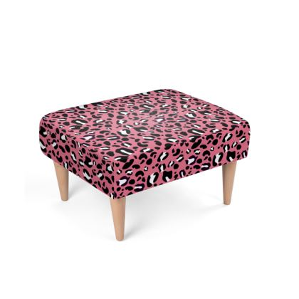 """Upholstered Footstool - Limited Edition """"Leopard Print Love"""" Print"""