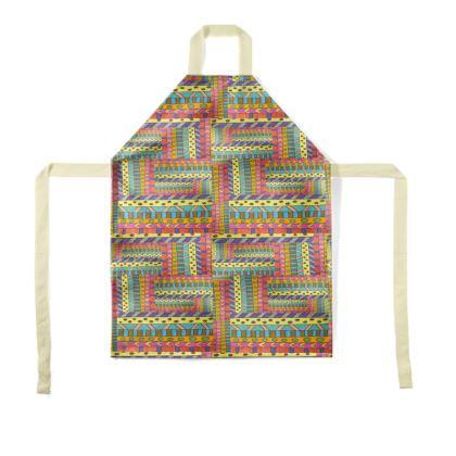orange geometric apron