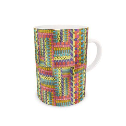 orange geometric Mug
