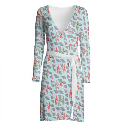 Humming Bird Collection - Aqua - Luxury Wrap Dress