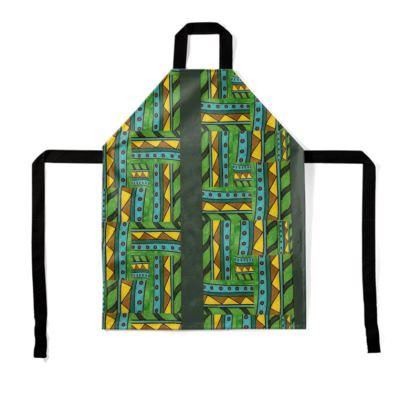 green geometric apron