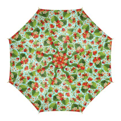 Strawberry Botanical on Aqua Umbrella