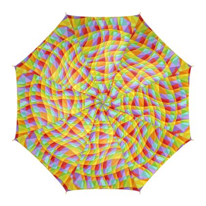 Rainbow Groovy Plaid Umbrella