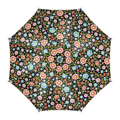 Millefiori Floral Black Ground Umbrella