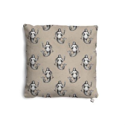 Mermaids Heraldic Ivory Pillows Set.