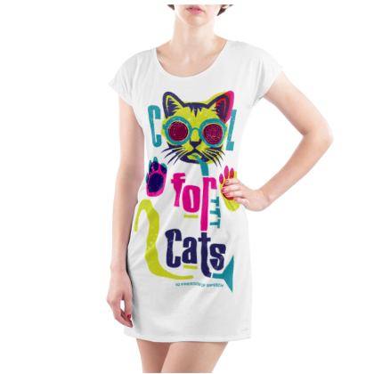 COOL FOR CATS LADIES TUNIC T SHIRT DESIGN 3