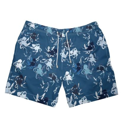 Sea Life Collection (Octopus - Waterfall Blues) - Luxury Mens Swimming Shorts