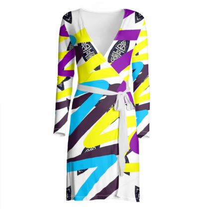 SumPurpleYellow KEAA wrap dress