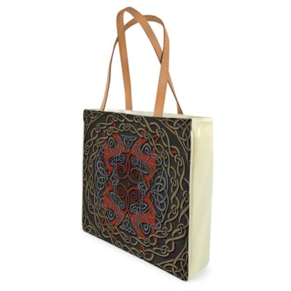 Celtic Greyhounds Shopper Bag (Red & Taupe)