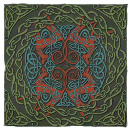 Celtic Greyhounds Scarf (Red/Green)