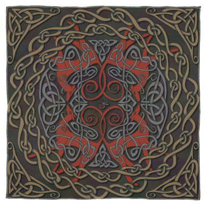 Celtic Greyhounds Scarf (Red/Taupe)