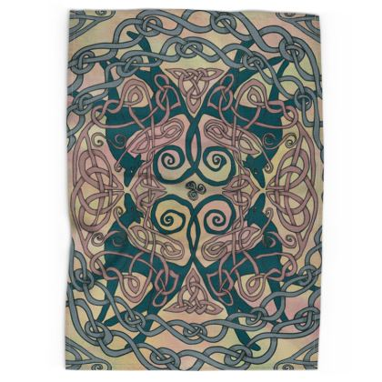 Art Nouveau Greyhounds Tea Towel (Pink/Cream)