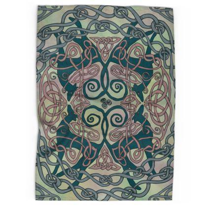 Art Nouveau Greyhounds Tea Towel (Pale Green)