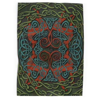 Celtic Greyhounds Tea Towel (Red/Green)