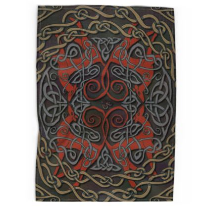 Celtic Greyhounds Tea Towel (Red/Taupe)