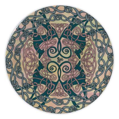 Art Nouveau Greyhounds China Plate (Pink/Cream)