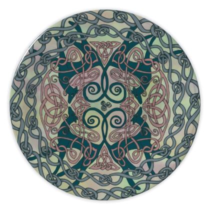 Art Nouveau Greyhounds China Plate (Pale Green)