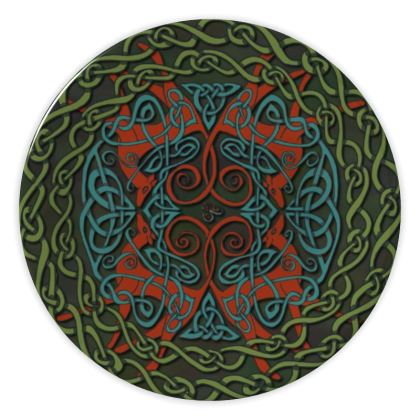 Celtic Greyhounds China Plate (Red/Green)