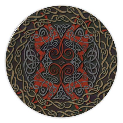 Celtic Greyhounds China Plate (Red/Taupe)