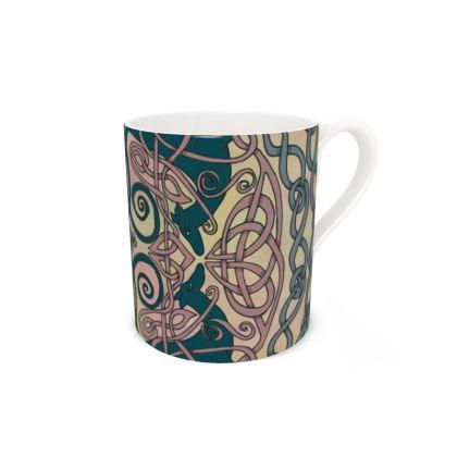 Art Nouveau Greyhounds (Pink & Cream) Bone China Mug